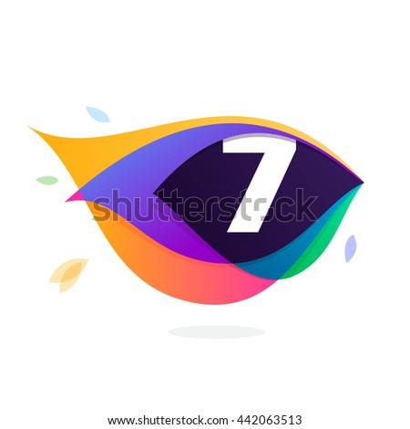 Number seven logo in peacock feather icon. Colorful vector design for banner, presentation, web page, app icon, card, labels or posters. - stock vector