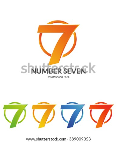Number Seven. Number Logo. 5 versions  - stock vector