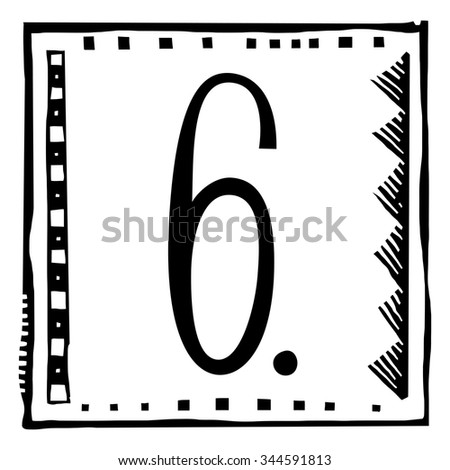 Number six as abstract woodcut style pattern. Vector design element illustration - stock vector