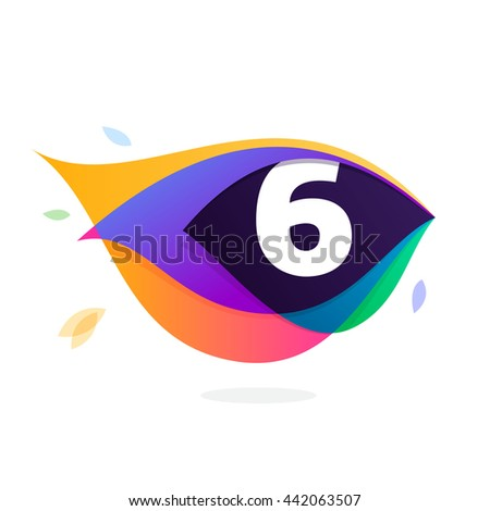 Number six logo in peacock feather icon. Colorful vector design for banner, presentation, web page, app icon, card, labels or posters. - stock vector