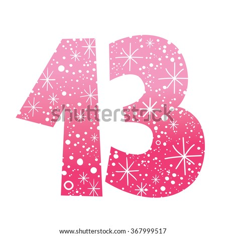 number thirteen  - stock vector