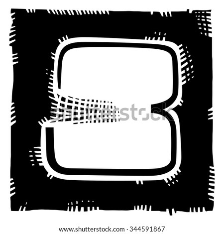 Number three as abstract woodcut style pattern. Vector design element illustration - stock vector