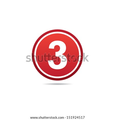 Number Three Icon - stock vector