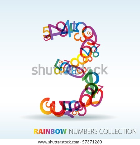 Number three made from colorful numbers -  check my portfolio for other numbers - stock vector