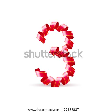 Number three made of red curled shiny ribbon - stock vector