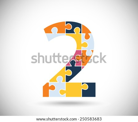 Number two consisted of  color puzzles  on the gray backdrop. - stock vector