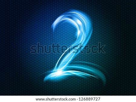 Number TWO from the big abstract numerical series. - stock vector