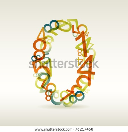Number zero made from colorful numbers -  check my portfolio for other numbers - stock vector