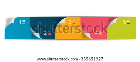 Numbered step by step diagram. Infographic flat tab. - stock vector