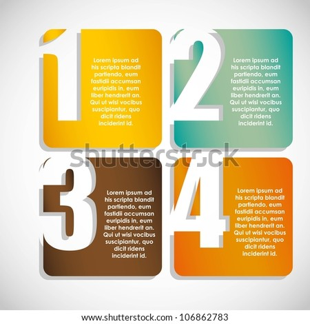 Numbering in colored squares, step by step. vector illustration - stock vector