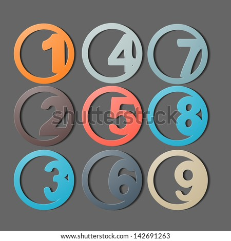 Numbers 1-9 - stock vector