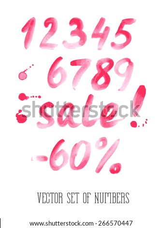 Numbers and sale set. Hand drawn letters. Watercolor. - stock vector