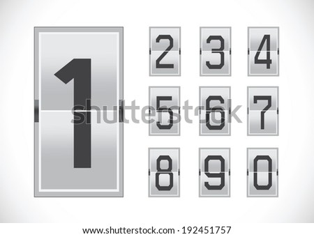 Numbers clock flip Scoreboard Illustration  - stock vector