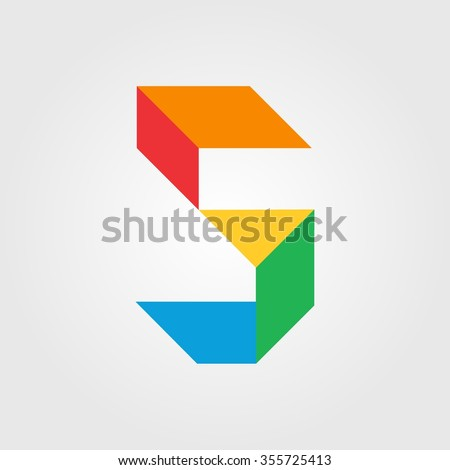 Numbers five (5) in origami style. Vector illustration colorful bright design. Formed by triangles. For party poster, greeting card, banner or invitation. Cute numerical icons and signs. - stock vector