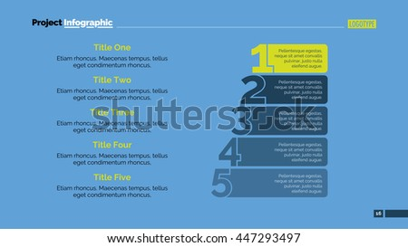 Numbers Five Points Slide Template - stock vector