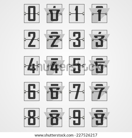 Numbers from Mechanical Scoreboard Alphabet. Vector illustration - stock vector