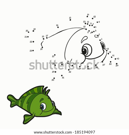 Numbers game (fish) - stock vector