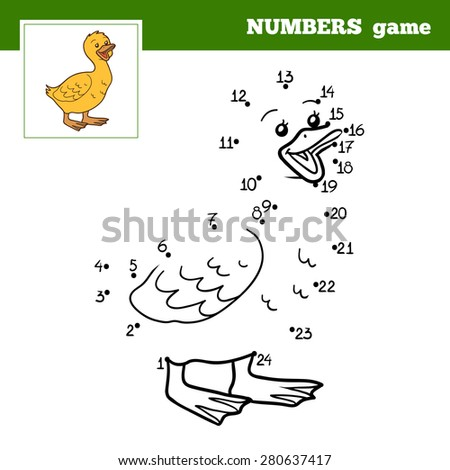 Numbers game (goose, gosling) - stock vector