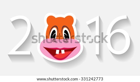 Numbers in 2016, and the monkey on a white background are shown in the image. - stock vector
