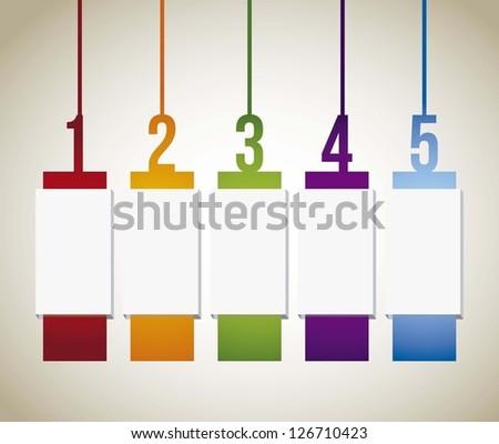 numbers labels over beige background. vector illustration - stock vector