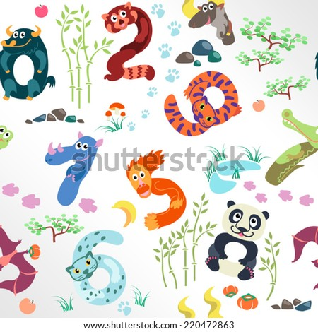 Numbers like Asian animals pattern / Solid fill vector seamless pattern - stock vector