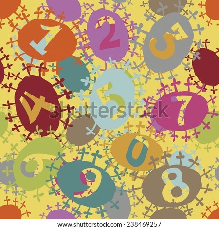 numbers on the decorative bright background - stock vector