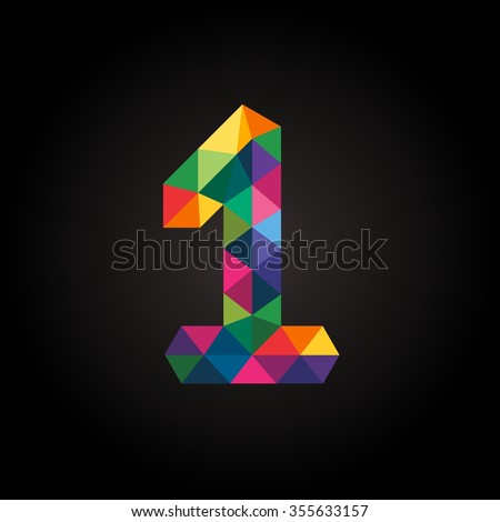Numbers one (1) in modern polygonal crystal style. Vector illustration colorful bright design. Formed by triangles. For party poster, greeting card, banner & invitation. Cute numerical icons & signs. - stock vector
