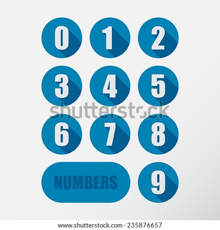 Numbers set. Flat design Vector Illustration.  - stock vector