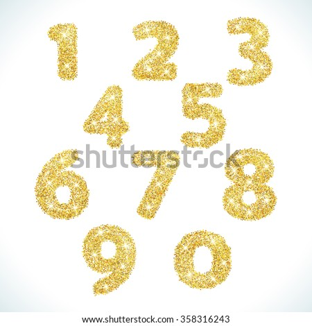 Numbers set in golden style. Vector illustration gold design. Formed by yellow shapes. For party poster, greeting card, banner or invitation. Cute numerical icons and signs. - stock vector