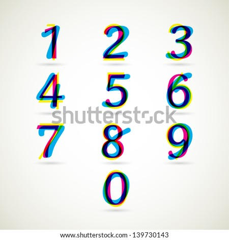 Numbers set of CMYK color style. Vector illustration. - stock vector