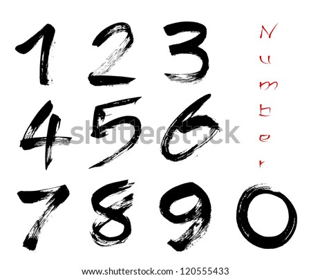 Numbers 0-9 written with a brush on a white background - stock vector