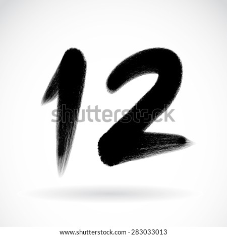 Numbers 12 written with a brush on a white background - stock vector