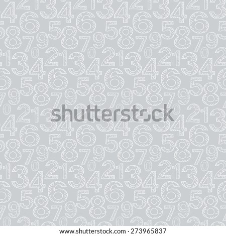 Numeral doodles. Seamless pattern. Abstract background. Line design. Background texture for Your design book web design, wallpapers for walls. Grey color. Vector illustration - stock vector