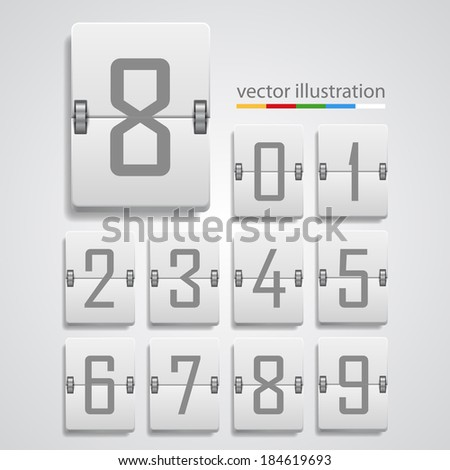 Numeric scoreboard, mechanical number, template design element, Vector illustration - stock vector