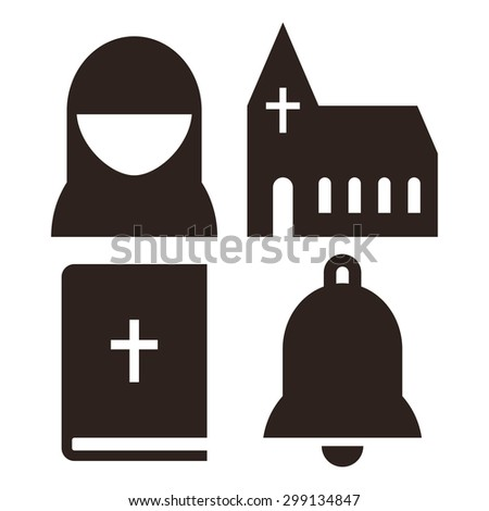 Nun, church, bible and bell icons. Church symbol set isolated on white background - stock vector