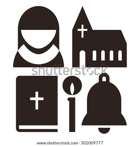 Nun, church, bible, candle and bell icons. Church symbol set isolated on white background - stock vector