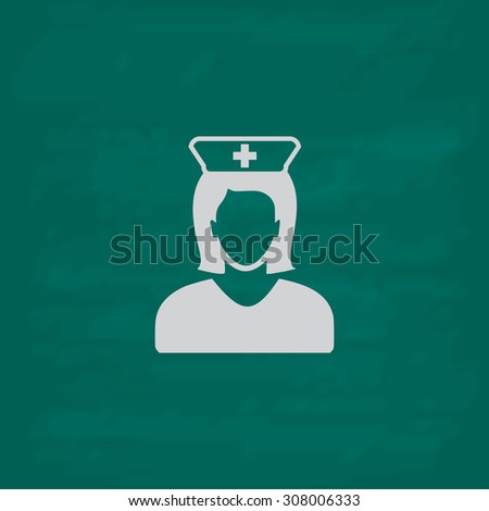 Nurse. Icon. Imitation draw with white chalk on green chalkboard. Flat Pictogram and School board background. Vector illustration symbol - stock vector