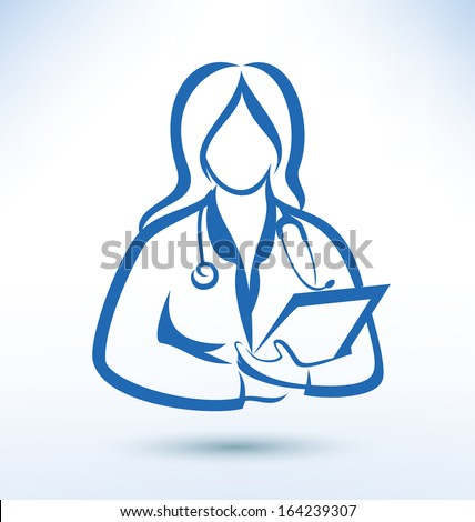 nurse, medical worker, outlined vector silhouette - stock vector