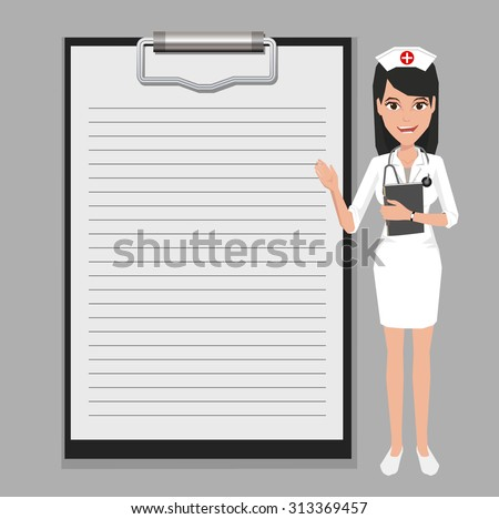 Nurse showing blank clipboard sign for presentation - character design vector illustration - stock vector