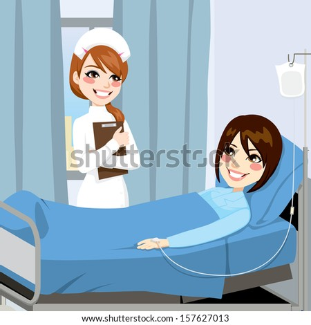 Nurse standing on the side of a bed in a hospital room visiting a sick woman patient receiving intravenous therapy treatment - stock vector
