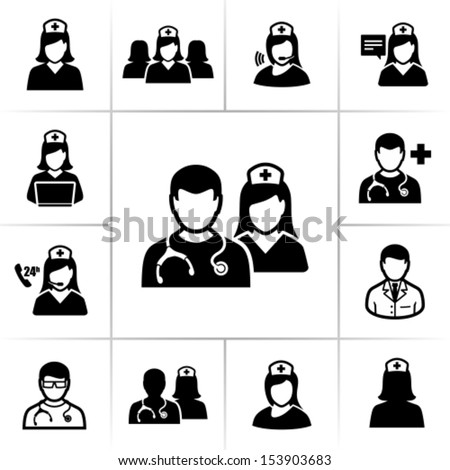 Nurses icons - stock vector