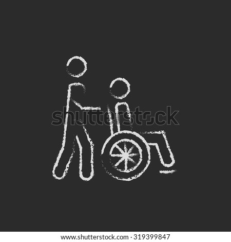 Nursing care hand drawn in chalk on a blackboard vector white icon isolated on a black background. Man pushing person in wheelchair. - stock vector