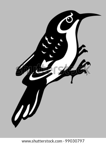 nuthatch silhouette on gray background, vector illustration - stock vector