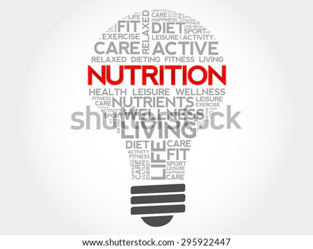 Nutrition bulb word cloud, health concept - stock vector
