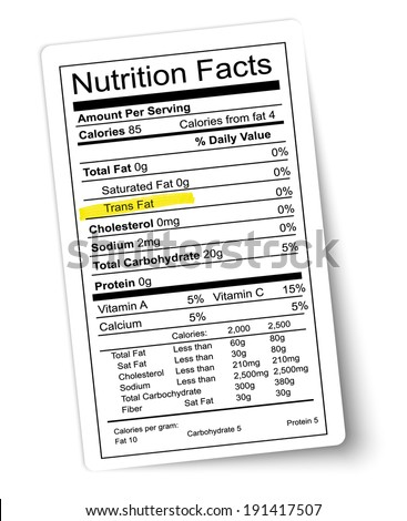 Nutrition facts label. Fat highlighted. Vector. - stock vector