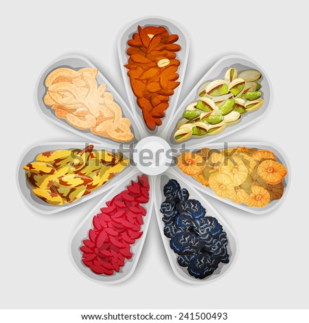 Nuts and dried fruit raw food assorted in bowls vector illustration - stock vector