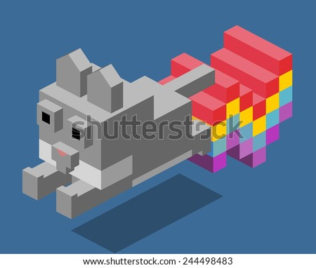 nyan cat. 3d pixelate isometric vector - stock vector