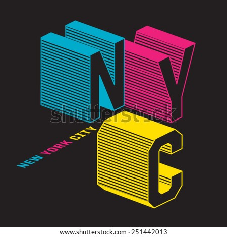 NYC typography, t-shirt graphics, vectors - stock vector
