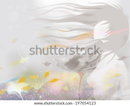 Nymph / Woman silhouette in windy abstract landscape      - stock vector