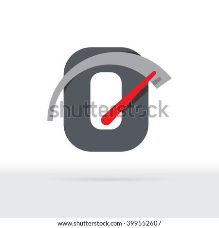 O Letter Car Speedometer, B Letter Meter Logo - stock vector